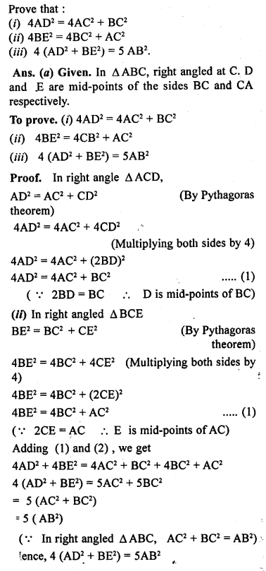 ML Aggarwal Class 9 Solutions for ICSE Maths Chapter 12 Pythagoras Theorem     21a