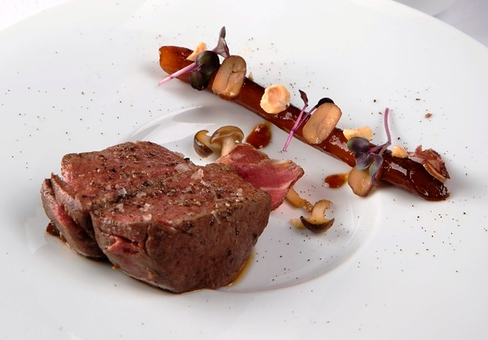 02.The Tasting Room-Smoked Grim Beef Tenderloin with Coffee Salsify and Hazelnut
