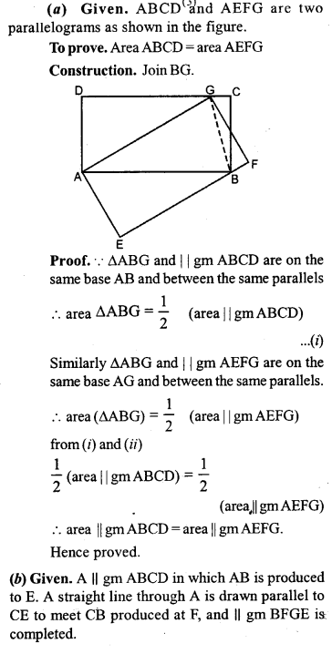 ML Aggarwal Class 9 Solutions for ICSE Maths Chapter 14 Theorems on Area     12b
