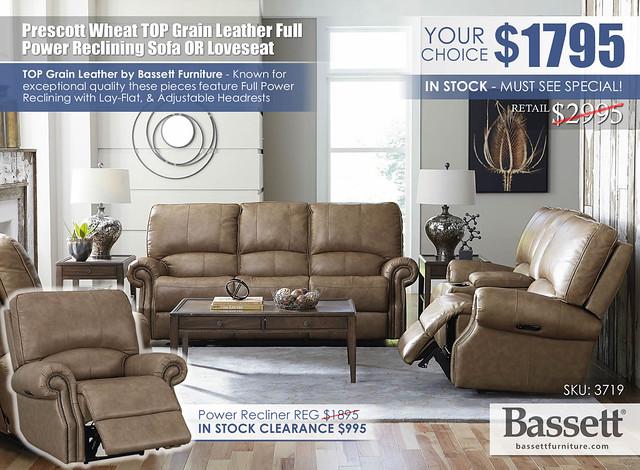 Prescott Wheat Top Grain Leather Power Reclining Sofa OR Loveseat Special_Bassett_3179_INSTOCK