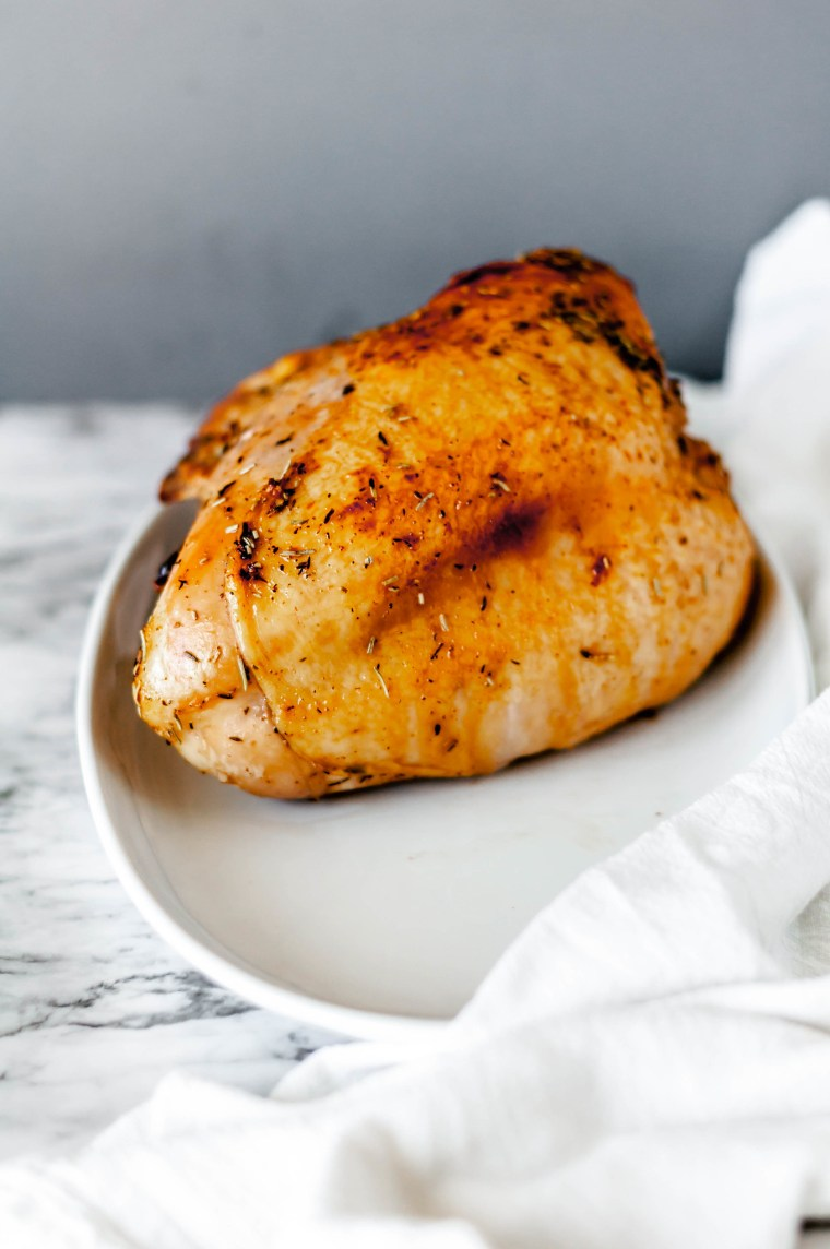 Apple Cider Glazed Turkey Breast is a great option for a small scale Thanksgiving meal. You still get the awe factor roasting and carving a turkey but on a much small and more manageable scale. Sweet, syrupy, spiced glaze brings the flavor.