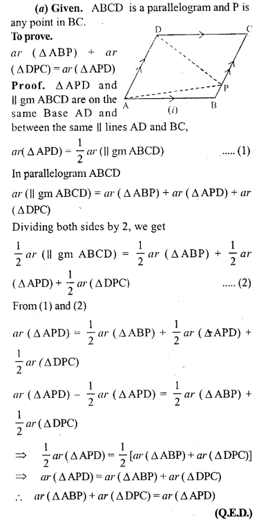 ML Aggarwal Class 9 Solutions for ICSE Maths Chapter 14 Theorems on Area     4a
