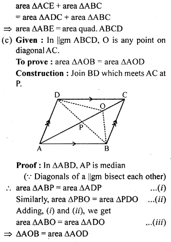 ML Aggarwal Class 9 Solutions for ICSE Maths Chapter 14 Theorems on Area     11d