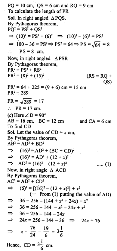ML Aggarwal Class 9 Solutions for ICSE Maths Chapter 12 Pythagoras Theorem     15b