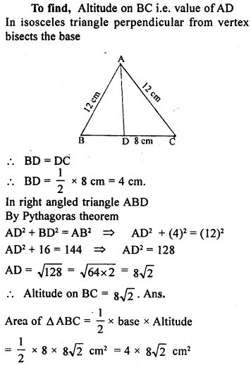 ML Aggarwal Class 9 Solutions for ICSE Maths Chapter 12 Pythagoras Theorem     12