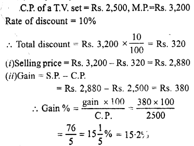 Selina Concise Mathematics class 7 ICSE Solutions - Profit, Loss and Discount-c7