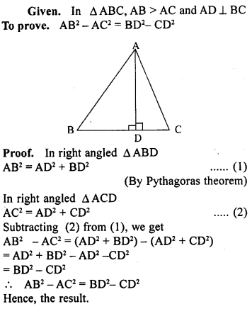 ML Aggarwal Class 9 Solutions for ICSE Maths Chapter 12 Pythagoras Theorem     ch2