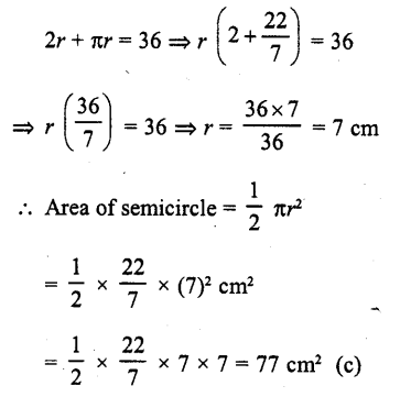 RD Sharma Class 10 Solutions Chapter 13 Areas Related to Circles MCQS -4