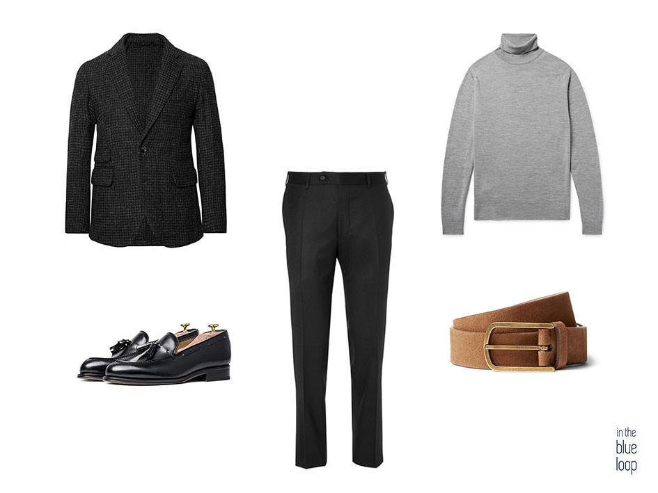 Smart-casual con pantalón de vestir y blazer negras, zapatos negros tassel, cinturón marrón y jersey de cuello vuelto