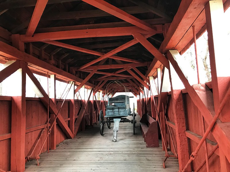 Conestoga wagon on Trostletown Covered Bridge