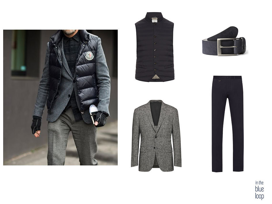 Look smart-casual con cinturón Igara de blue hole, chaleco de plumas, blazer y pantalones chinos azules