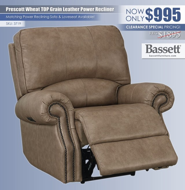 Prescott Wheat Top Grain Leather Recliner_3719