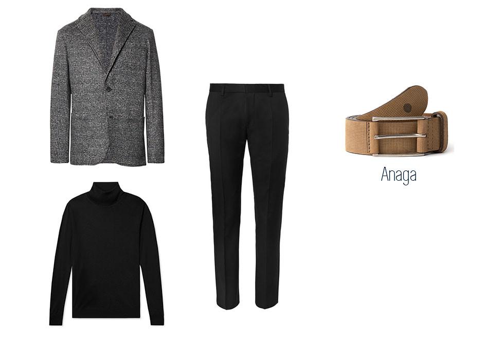 Look masculino smart-casual con blazer, pantalón de vestir, jersey de cuello vuelto y con el cinturón Anaga de blue hole como complemento