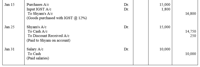 TS Grewal Accountancy Class 11 Solutions Chapter 5 Journal Q10.1