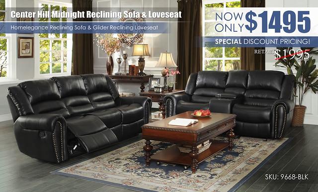 Center Hill Black Reclining Sofa & Loveseat_9688-BLK