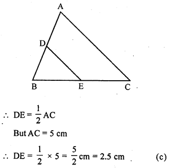 ML Aggarwal Class 9 Solutions for ICSE Maths Chapter 11 Mid Point Theorem    mcq 1