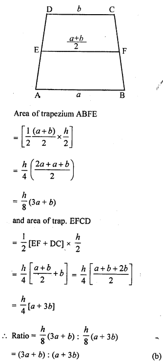 ML Aggarwal Class 9 Solutions for ICSE Maths Chapter 14 Theorems on Area    mcq  7a