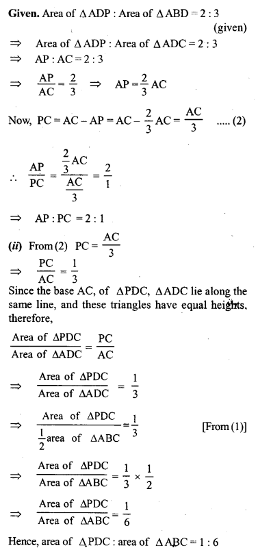 ML Aggarwal Class 9 Solutions for ICSE Maths Chapter 14 Theorems on Area     9d