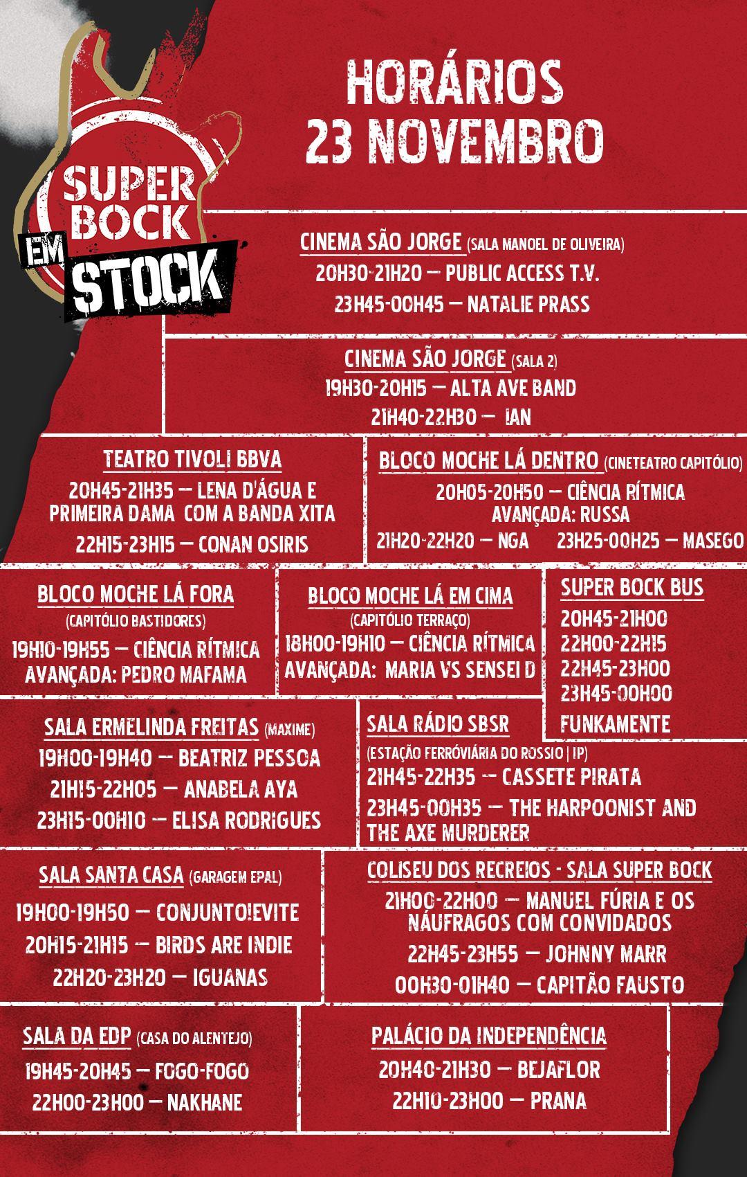 Super Bock em Stock - Horários 23 novembro