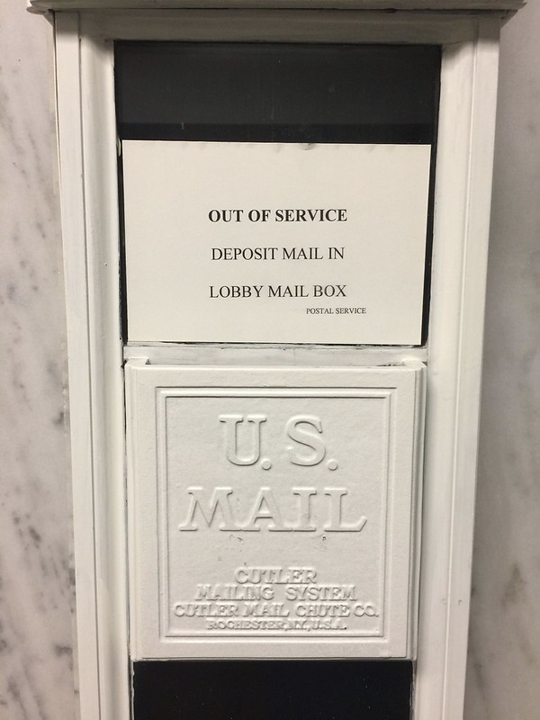Cutler mail chute, Garland Building, Chicago