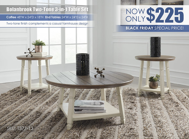 Bolanbrook two tone table set special_T377-13