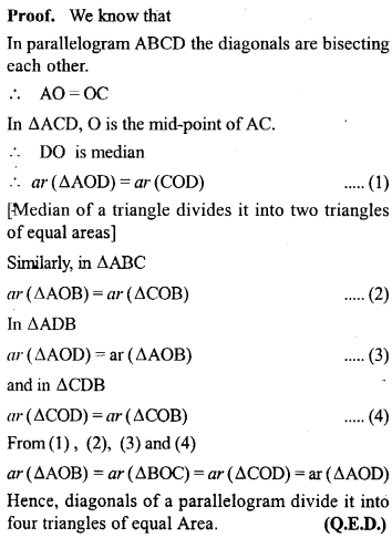 ML Aggarwal Class 9 Solutions for ICSE Maths Chapter 14 Theorems on Area     2A