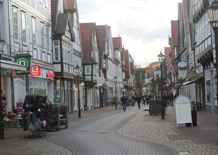 Pedestrian commercial street in Celle, Germany