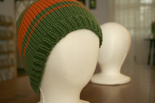 Hat 3 - Green and Orange striped