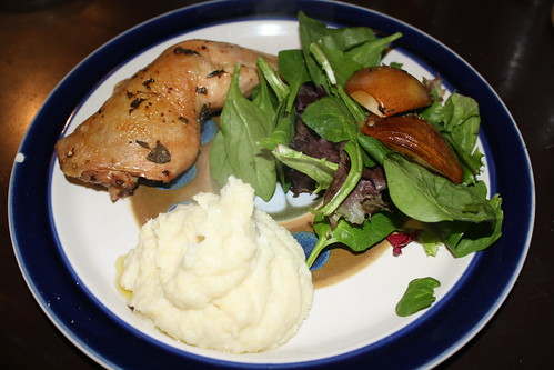 Roast chicken w/cauliflower mash & roast pear salad