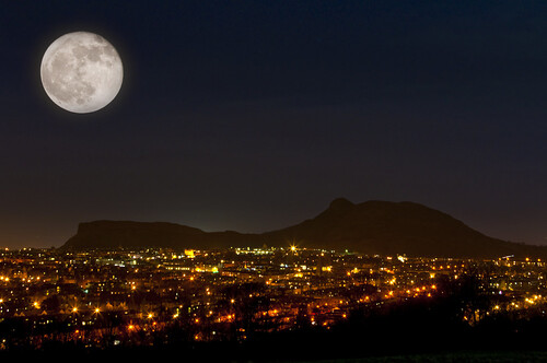 Full Moon and Arthurs Seat