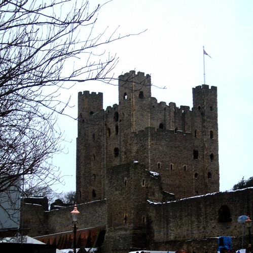 Rochester Castle With A Scattering Of Snow