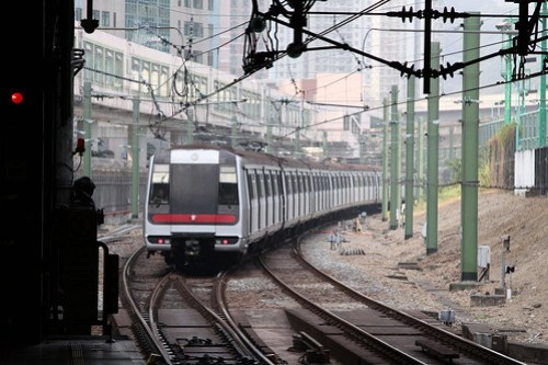 End of the line at Tsuen Wan: train heading off to the turnback siding