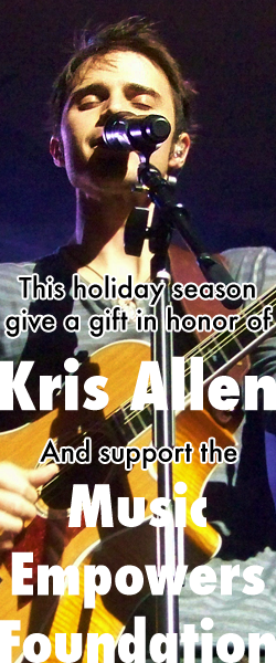 Kris Allen web site banner - Alright With Music Fundraising Campaign to benefit Music Empowers Foundation