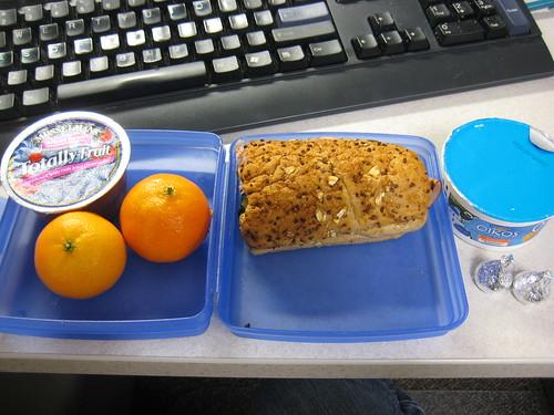 applesauce, clementines, subway sandwich, Oikos, kisses