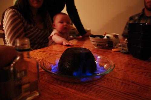 Flaming pudding.