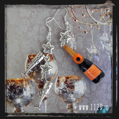 LNCIN orecchini brindisi natale christmas champagne veuve clicquot earrings 1129