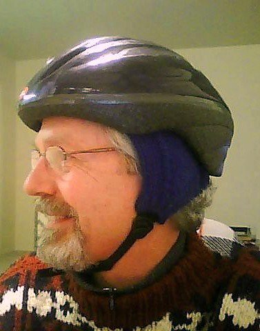 bike helmet earwarmers on my dad
