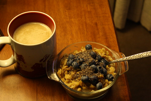 coffee, oatmeal, blueberries, chia seeds