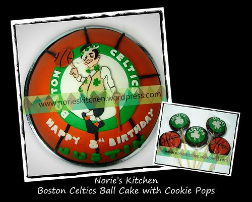 Boston Celtics Cake with cookie pops
