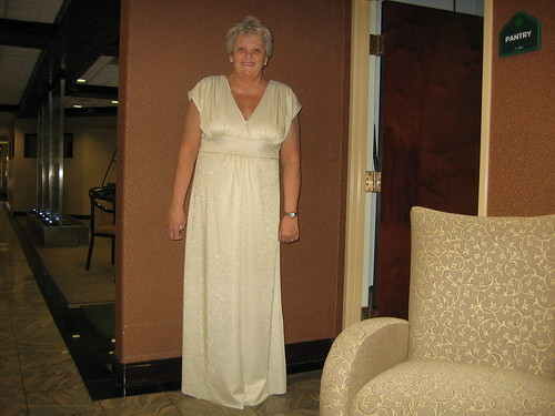 Rita Fallara of Palos Heights models a Curvy Girl dress she made at the weekend sew-in