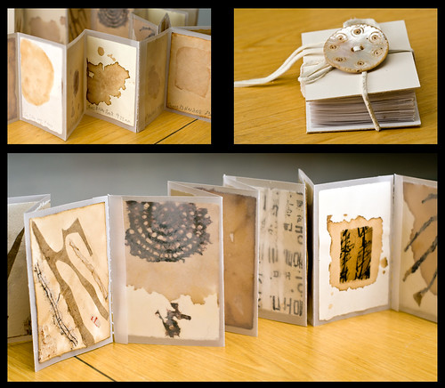 "3 photos of Sue's handmade book, ""30 days of November"""