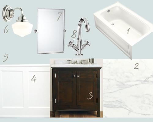 Main bathroom idea board 3 acres 3000 square feet for Main bathroom ideas