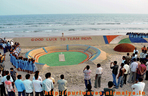 World's longest sand cricket bat on Puri beach