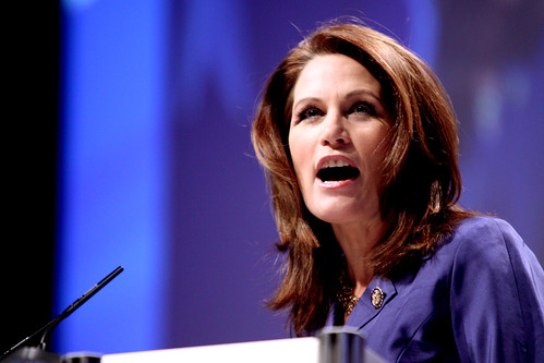 """US congresswoman Michele Bachmann who recently claimed that the United States was in the """"End Times"""" a reference to Christian fundamentalist belief in a future global apocalypse"""