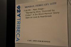 Six-Word Memoir Slam at 92YTribeca, 2/14/11