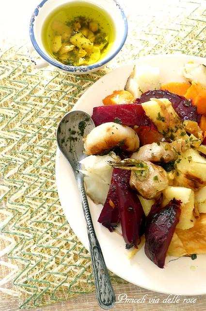 Radici e tuberi aromatizzati allo zenzero e coriandolo -Root and tuber vegetables flavored with ginger and coriander