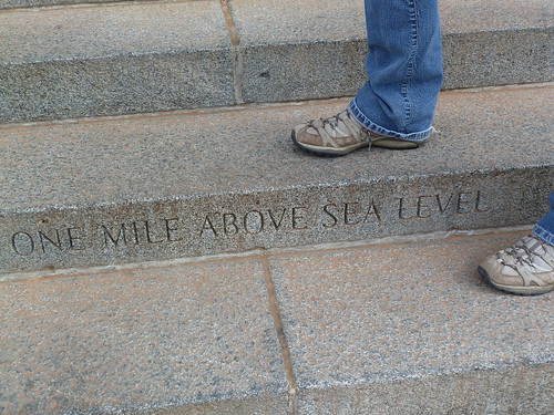 Standing on the mile high step at the Colorado State Capitol