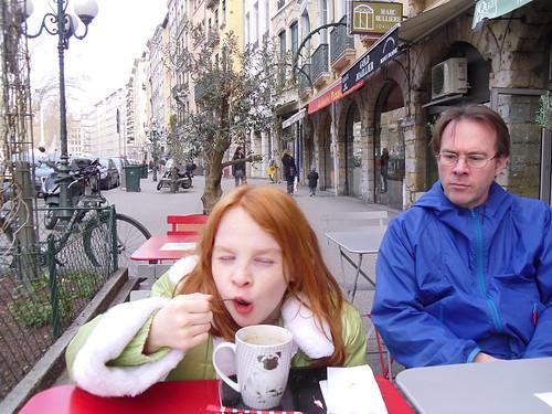 Sagan enjoys her hot chocolate