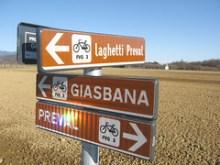 Le indicazioni della pista ciclabile
