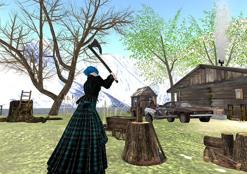 Working costume in teal: Chopping wood on Megalith